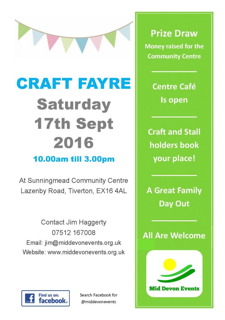 craft fayre 17th September 2016
