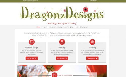 dragonz designs web page preview